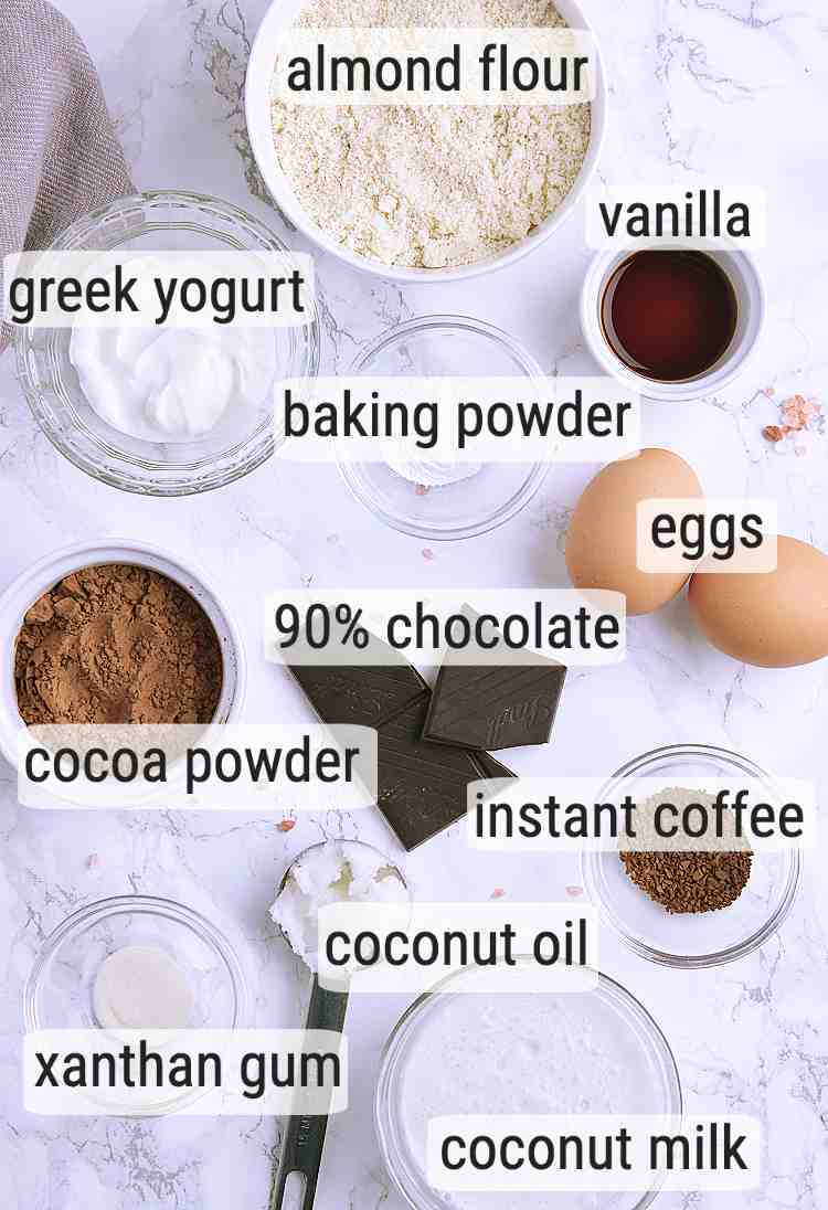 All ingredients used in this Keto Cupcake recipe