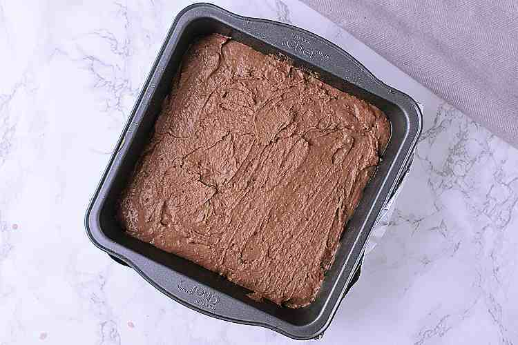 A baking dish with brownie batter.