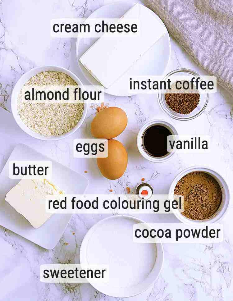 All ingredients used to make Keto Valentine's Day Brownies.