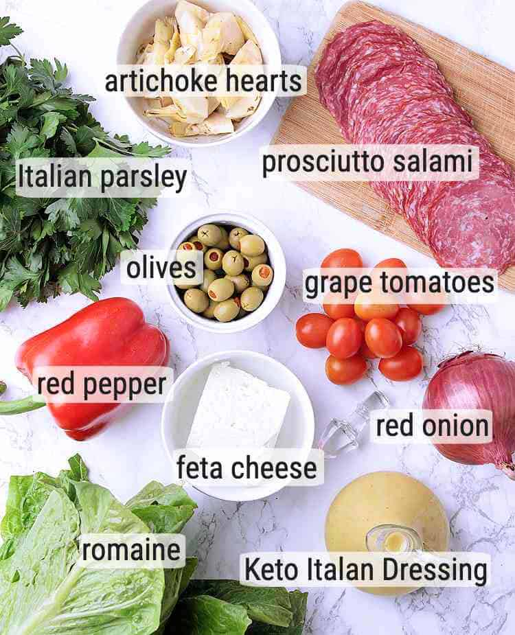 All ingredients used in this Keto Antipasto Salad.