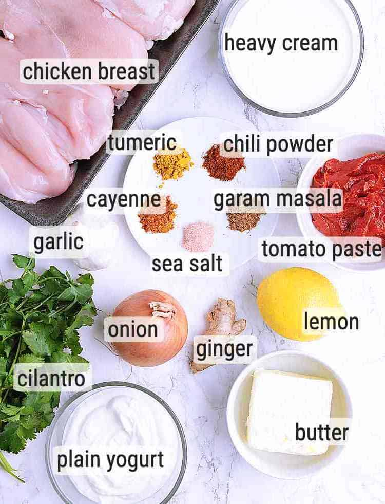 Ingredients used to make Keto Butter Chicken