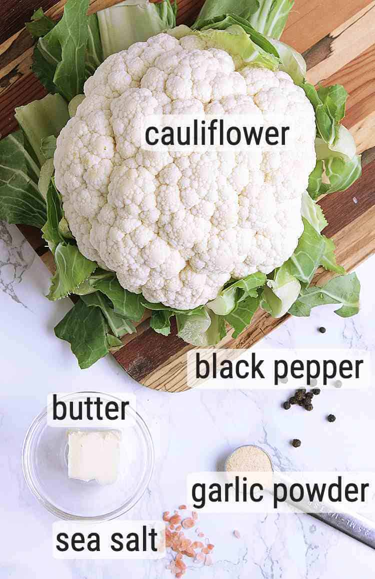 All ingredients used to make Keto Cauliflower Rice.