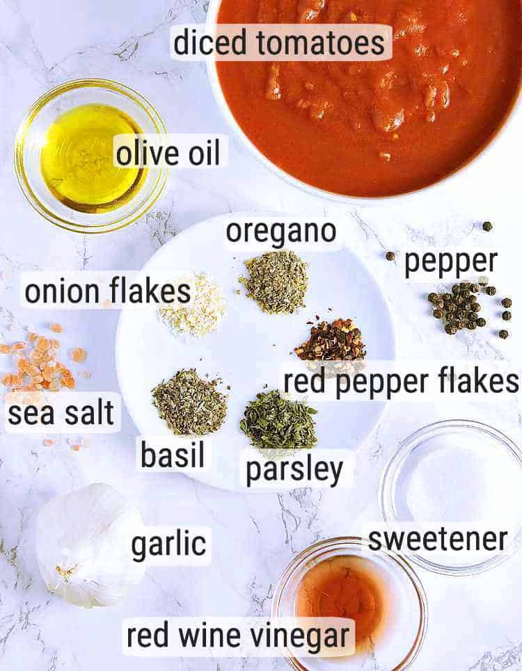 All ingredients used in this Keto Marinara.