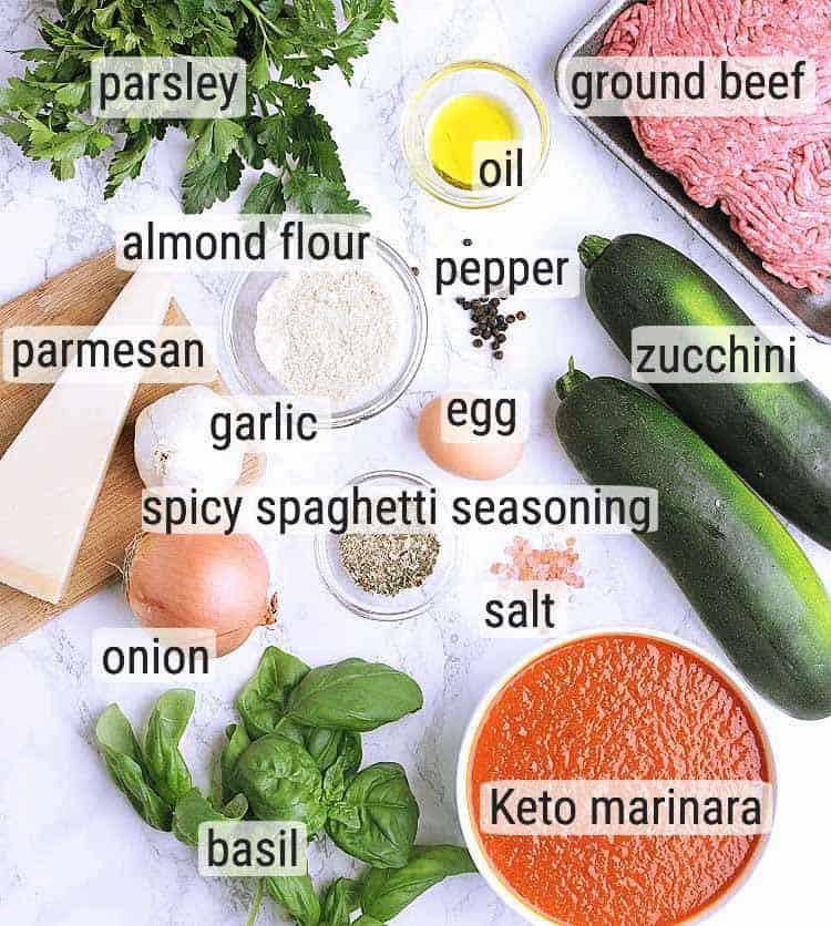 All ingredients used to make Keto Spaghetti.