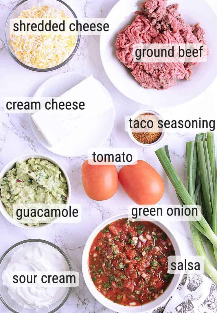 All ingredients used to make Keto Taco Dip.