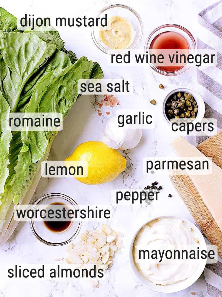 All ingredients used to make a Keto Caesar Salad.