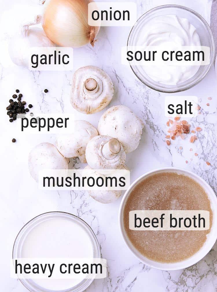 All ingredients used to make Keto Mushroom Sauce.