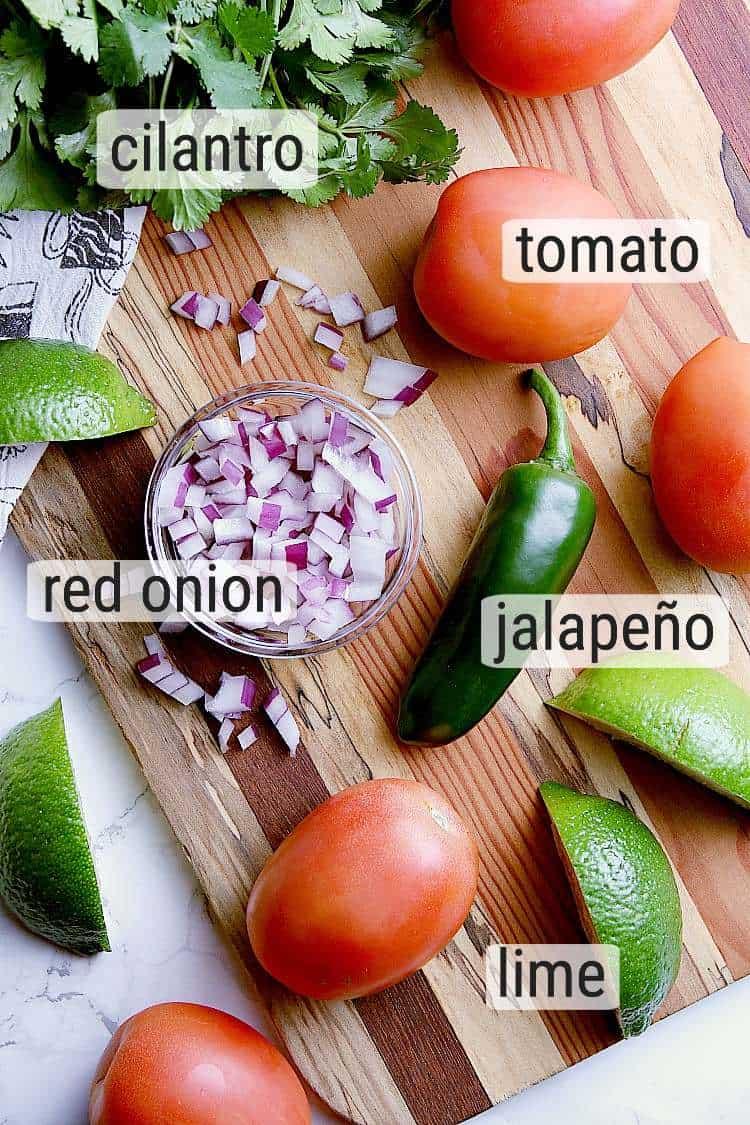 All ingredients used to make Keto pico de gallo.